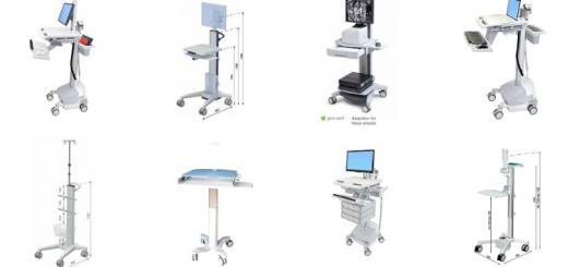 Diversi modelli di carrelli medicali
