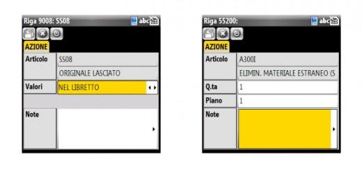 Due schermate del software Future Mobile su un palmare